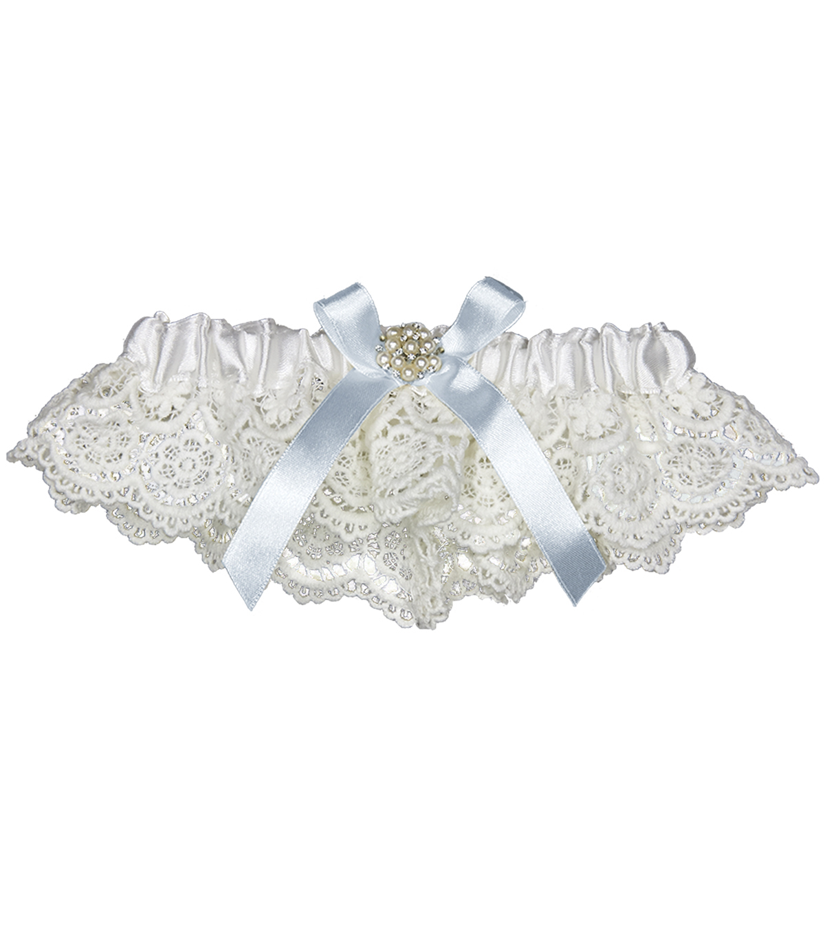 Save The Date™ Blue Lace Garter Crochet