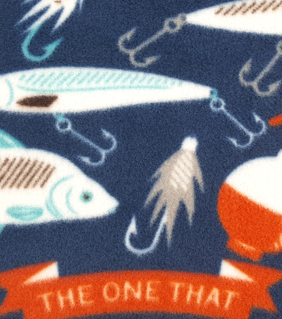 Anti-Pill Fleece Fabric 59\u0022-Navy Fising Lures
