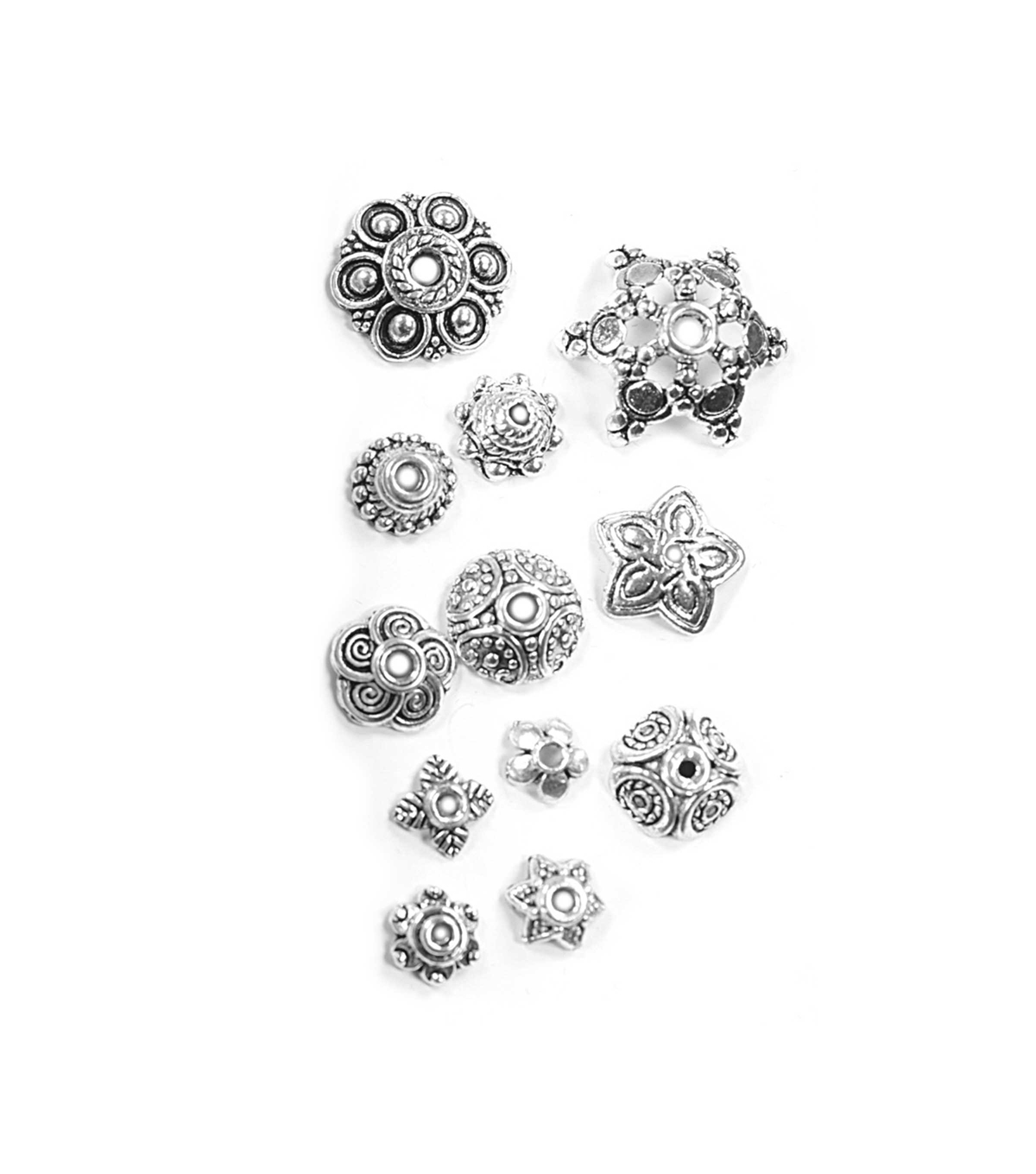 Blue Moon Findings Bead Cap Metal Value Pack Mix 6-16mm Antique Silver