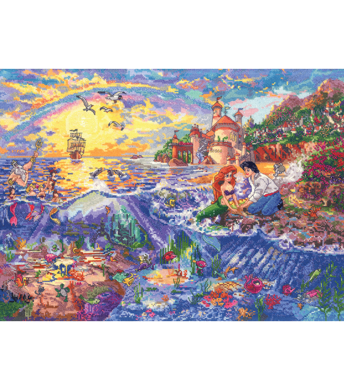 "Disney Dreams Collection By Thomas Kinkade Little Mermaid-16""X12"" 18 Count"