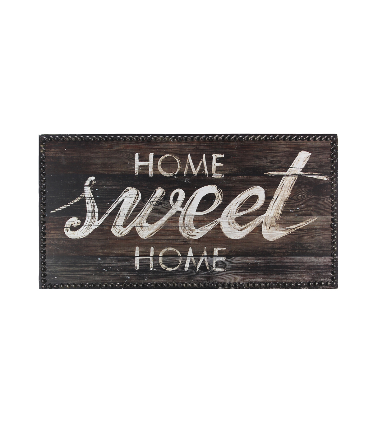 Porch Décor Wood Plaque with Metal Buttons 21.65\u0027\u0027x11.8\u0027\u0027-White Home Sweet Home