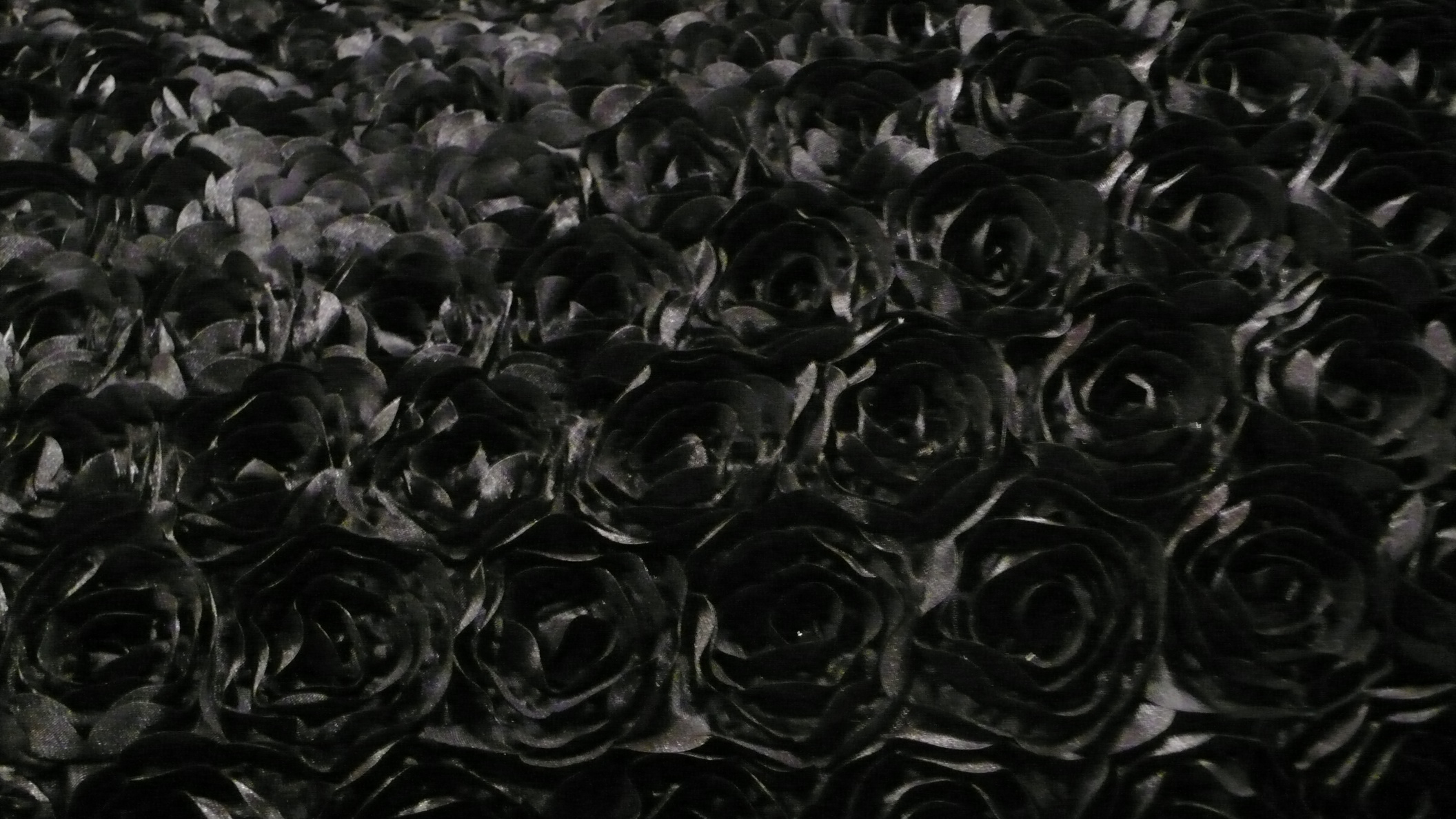 All That Glitters Fabric- Satin Rosette Embroidered Black