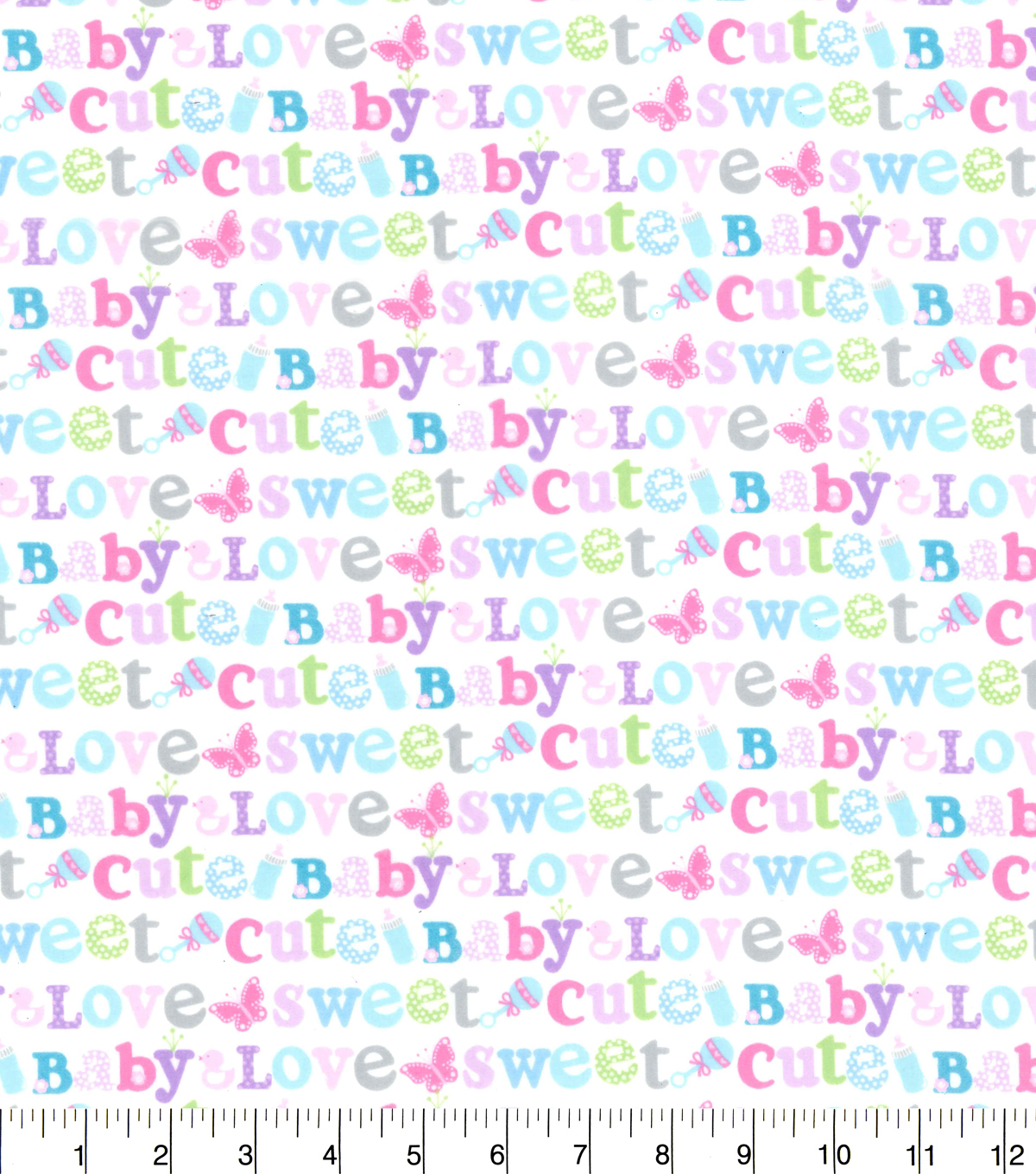 Nursery Flannel Fabric 42\u0022-Sweet Baby Love Words