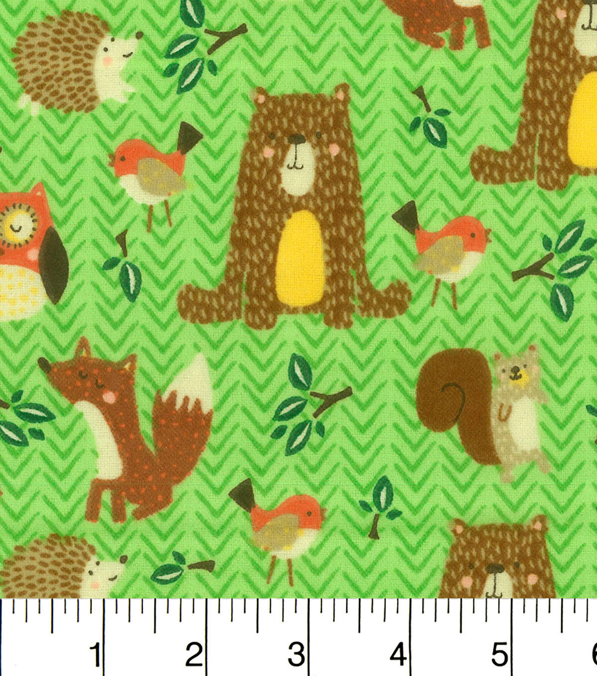 "Snuggle Flannel Fabric 42""-Woodland Friends Green"