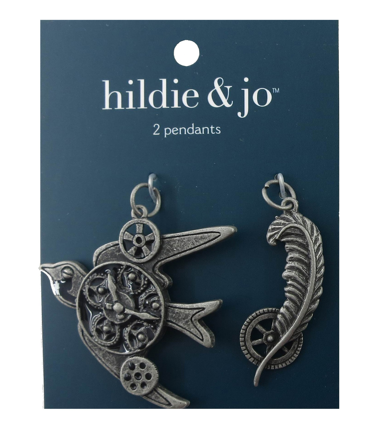 hildie & jo™ Bird & Feather Antique Silver Pendants