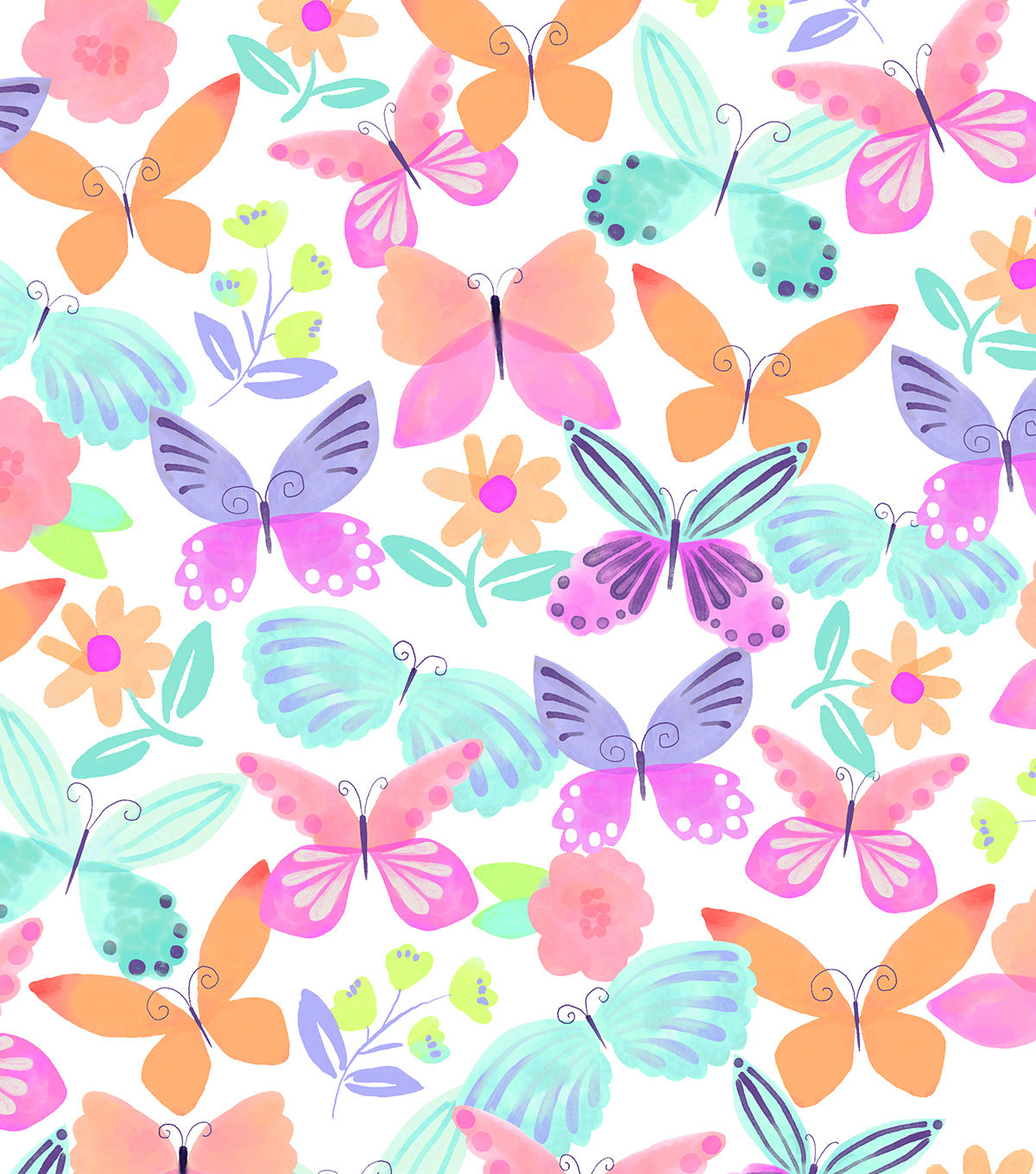 "Snuggle Flannel Print Fabric 42""-Watercolor Butterflies"