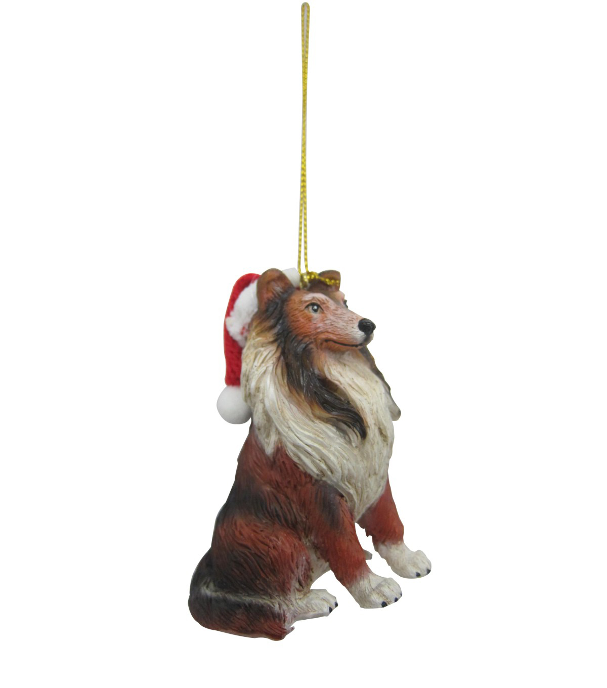 Maker's Holiday Christmas Resin Collie With Hat Ornament