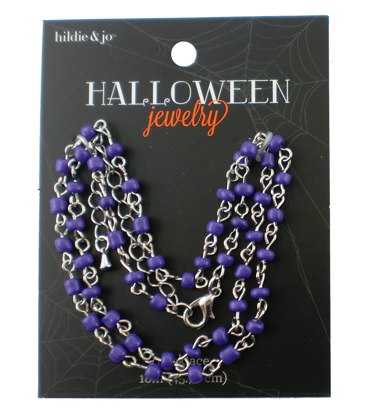hildie & jo™ Halloween 18\u0027\u0027 Silver Necklace-Purple Beads