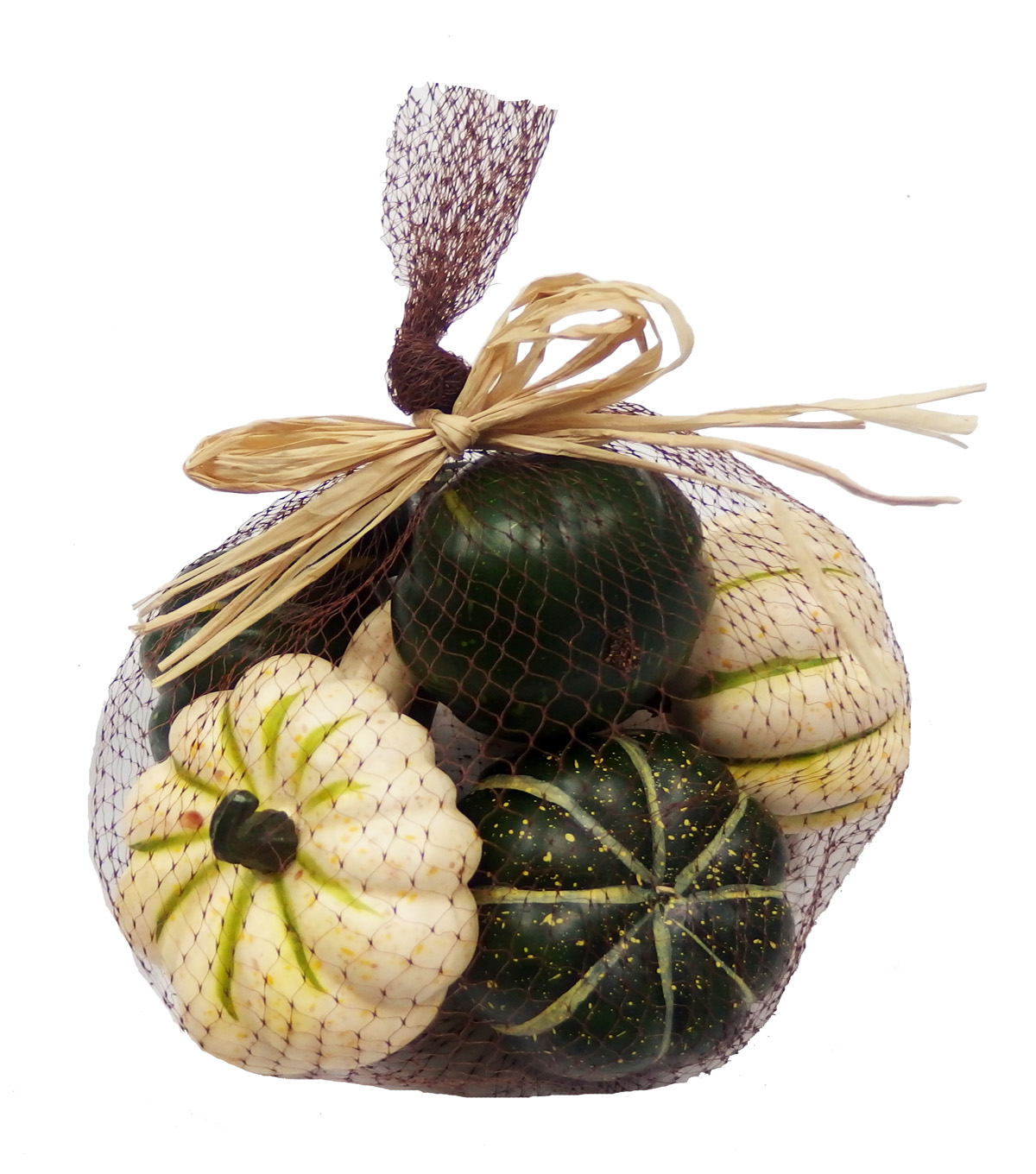 Blooming Autumn Pumpkins In Mesh Bag-Green & White