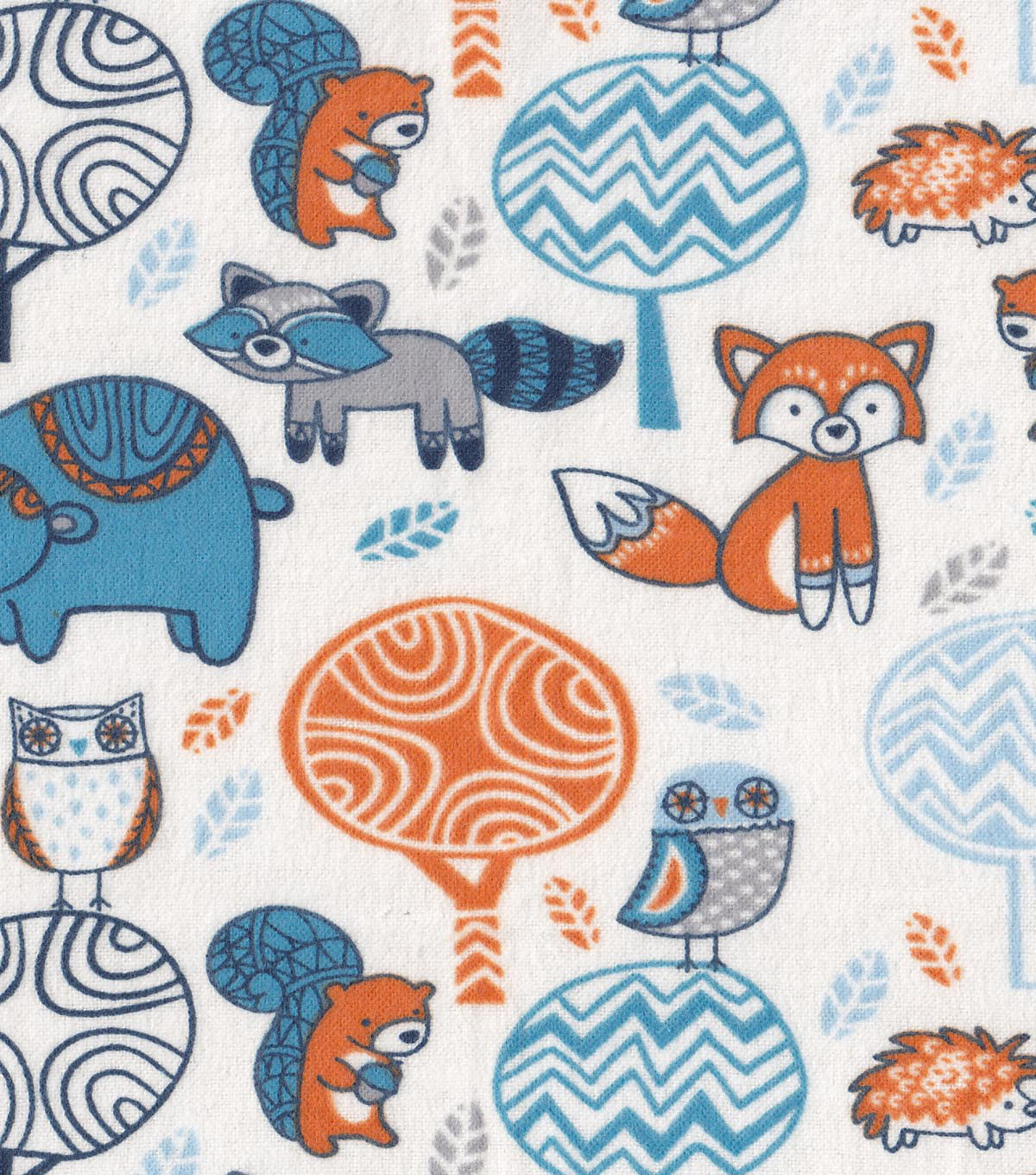 "Snuggle Flannel Fabric 42""-Folk Forest Creatures"