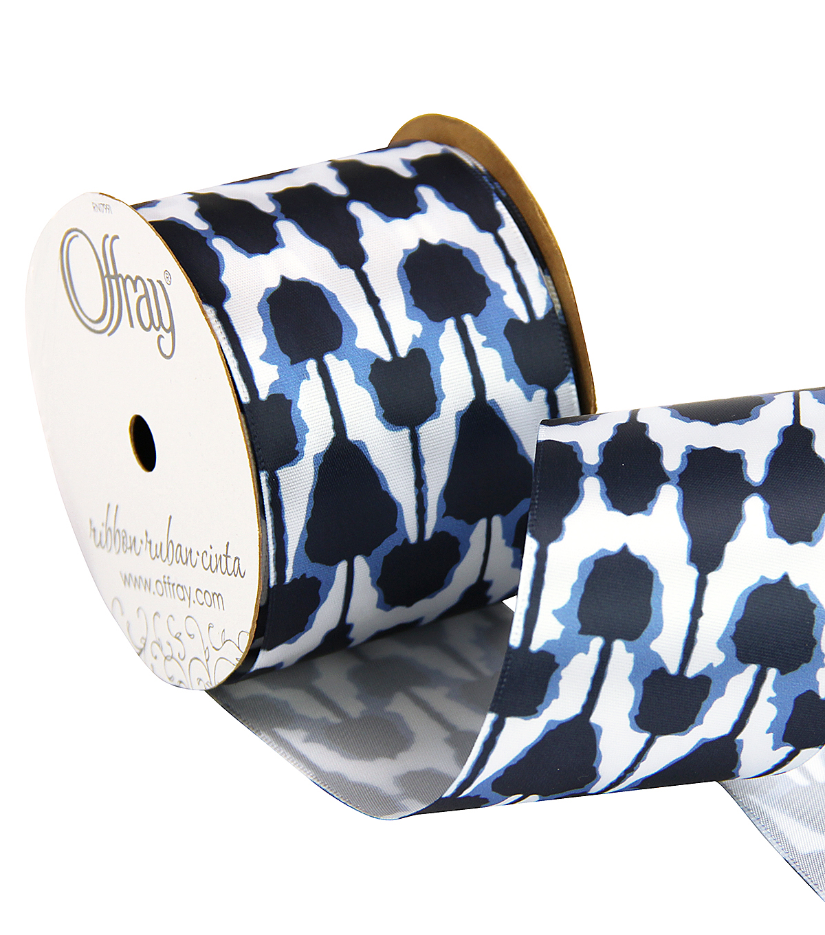 "Offray 2.25"" x 9' Geo Ribbon-Blue/Black/White"