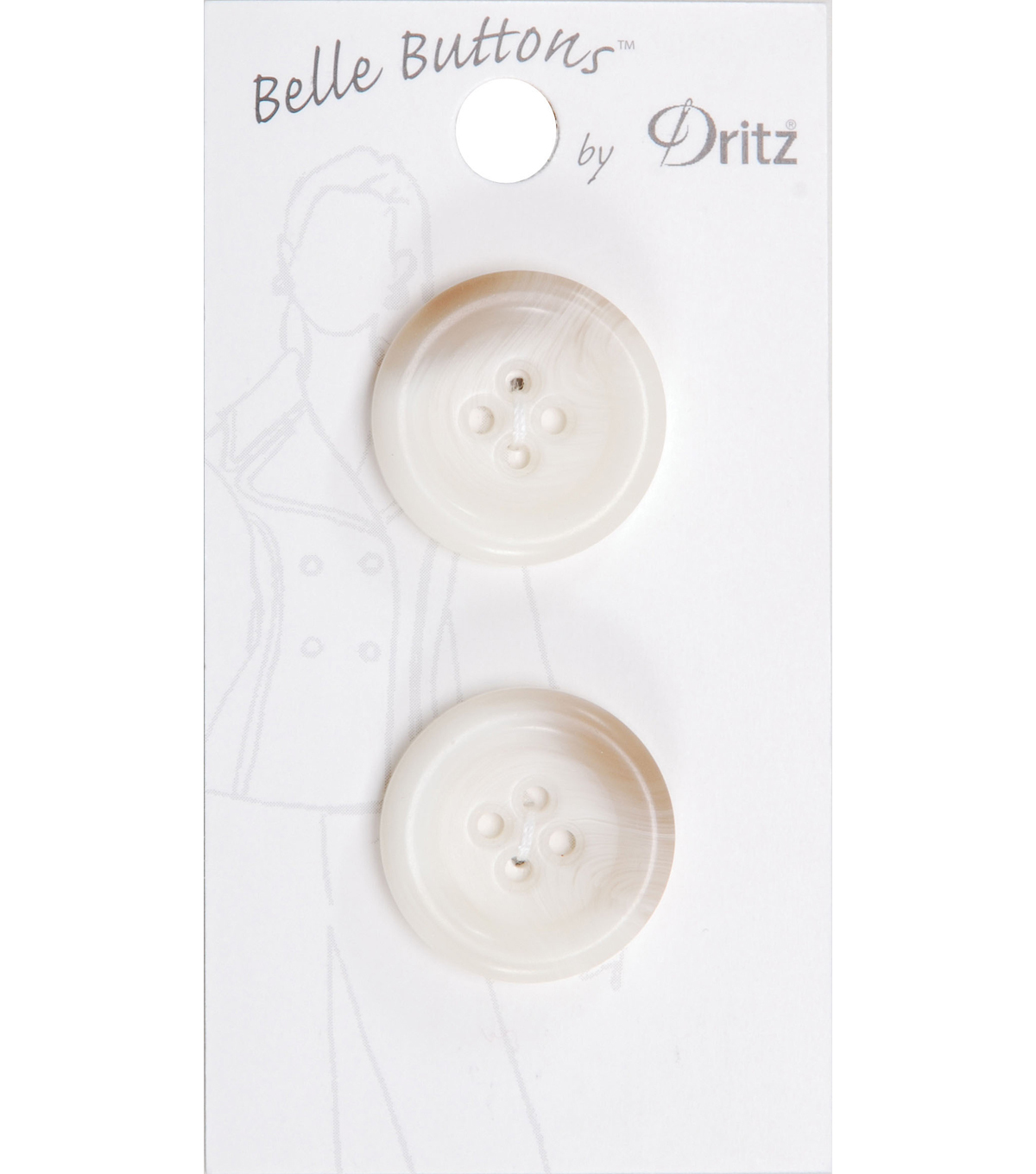 Dritz Belle Button Fashion Round 4 Hole Cream 23mm