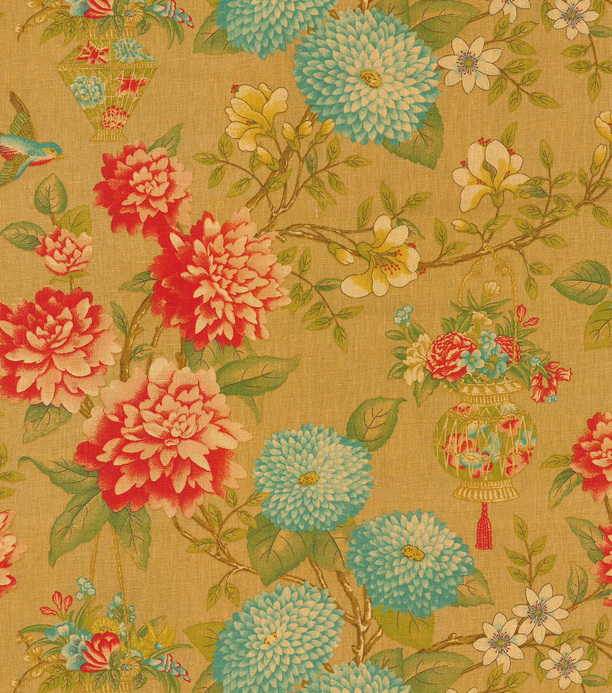 P/K Lifestyles Print Fabric 54\u0022-Lightfoot Garden/Cinnabar