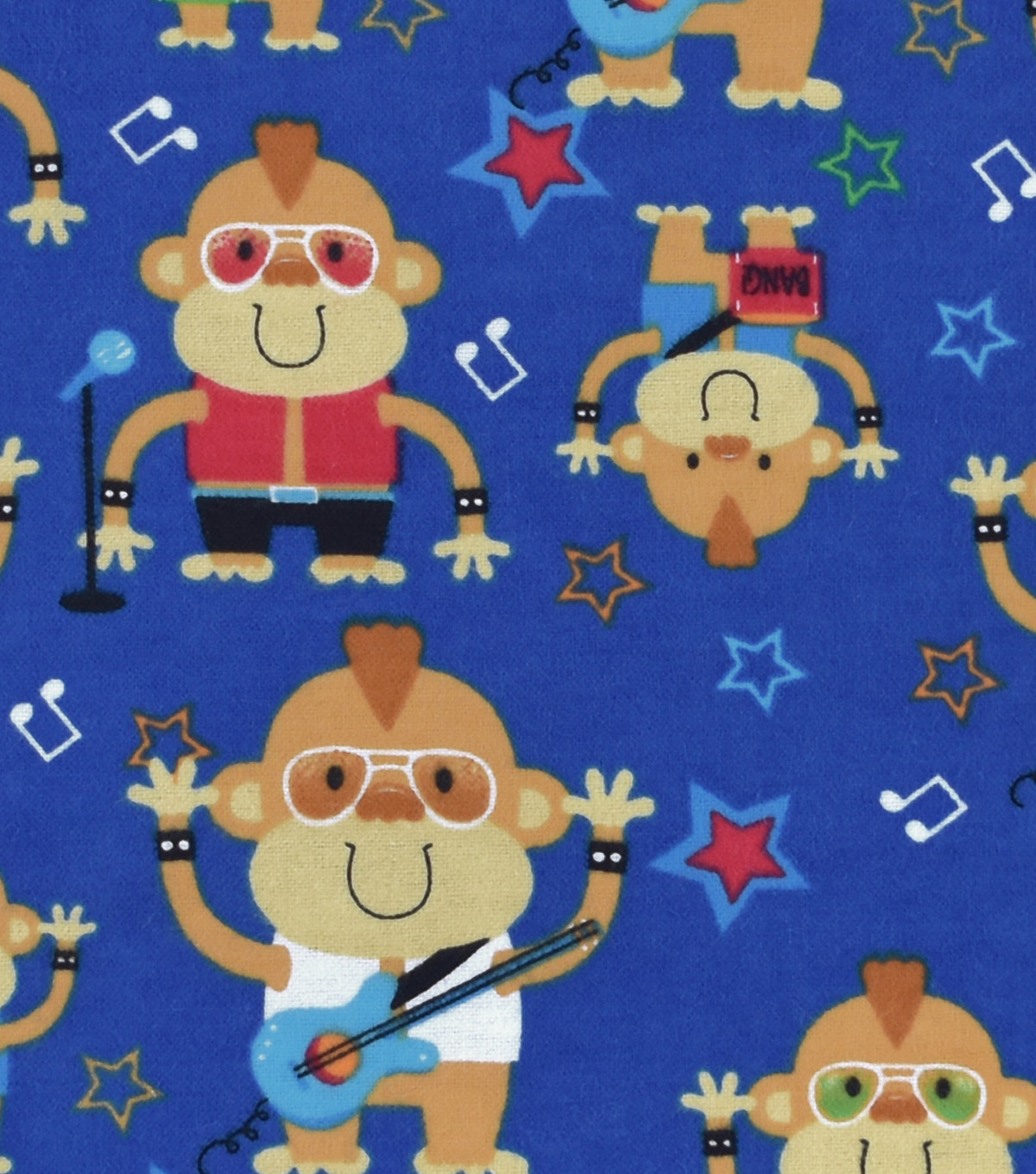 Snuggle Flannel Fabric 42''-Monkey Rock Band
