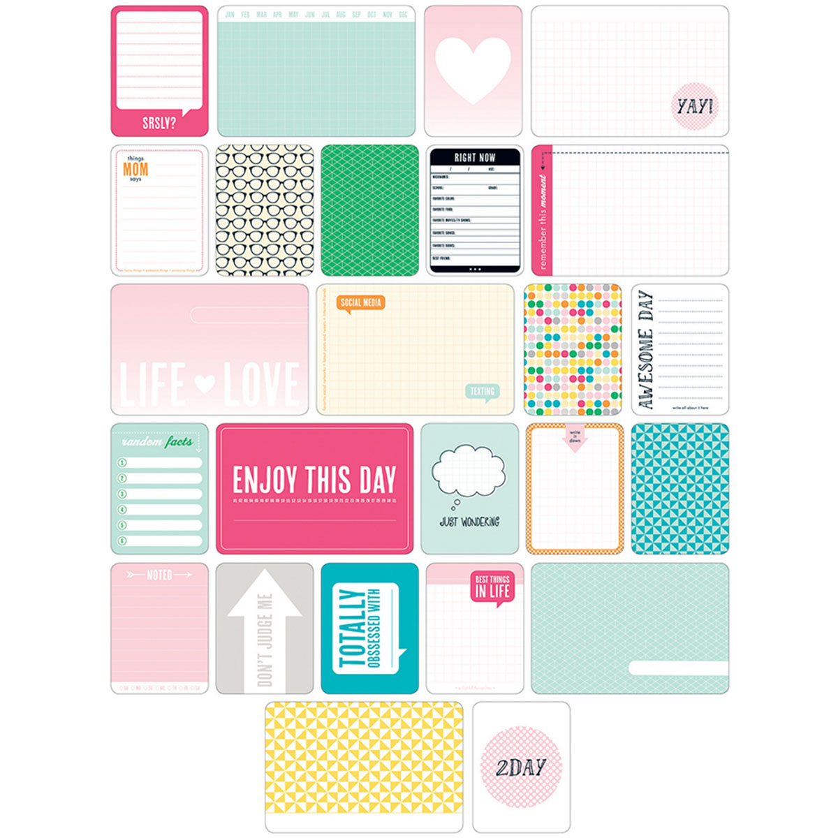 Project Life Themed Cards 60/Pkg-Teen Girl