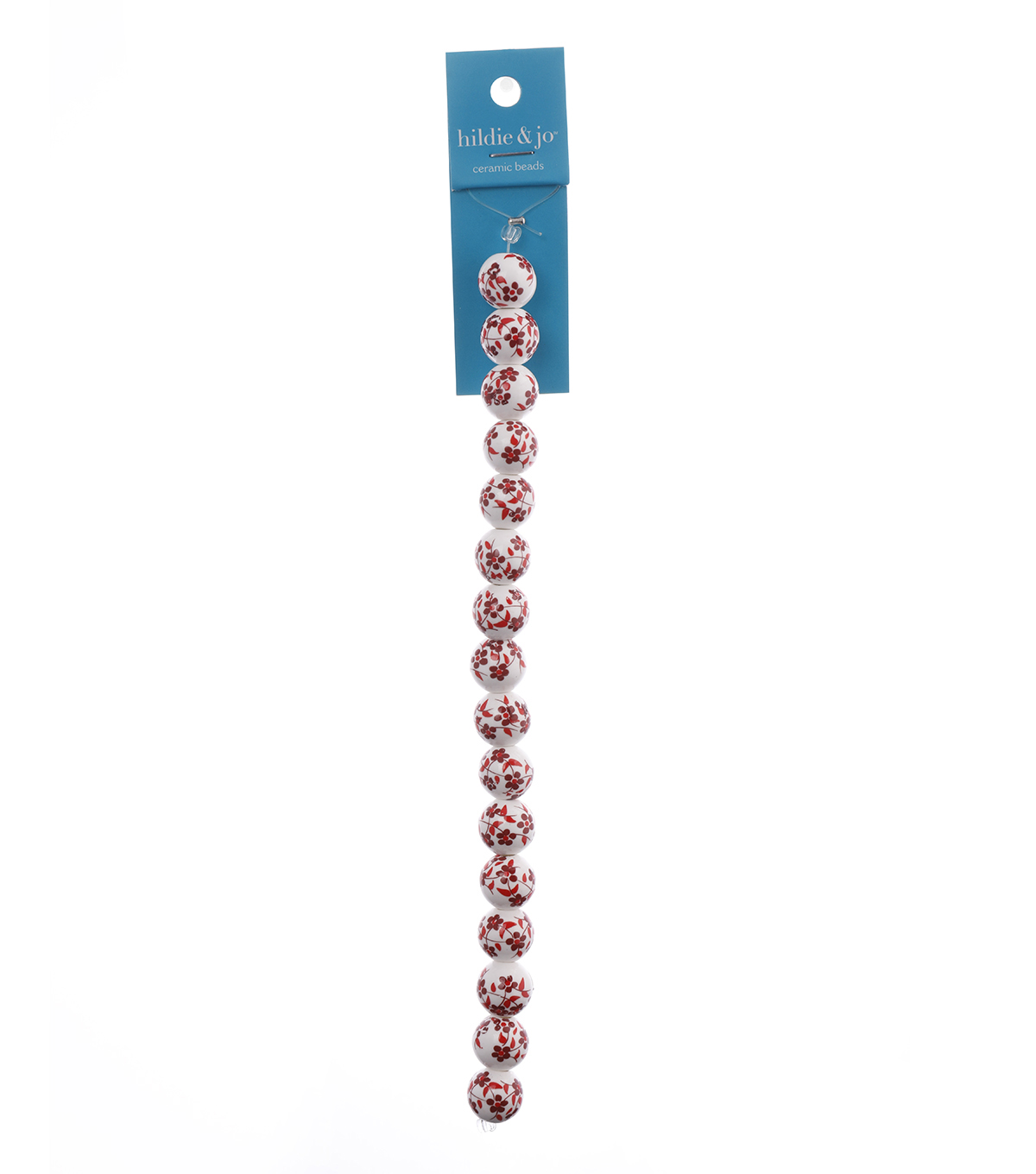 Blue Moon Strung Ceramic Beads,Round,White w/Red,Floral