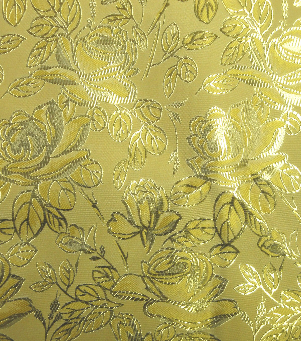 Glitterbug Brocade Fabric 59\u0022-Yellow Rose