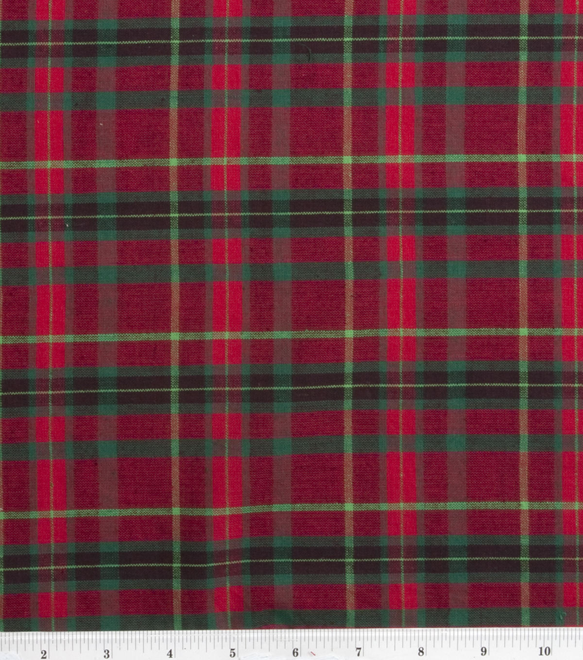 "Homespuns Cotton Fabric 44""-Red and Green Plaid"