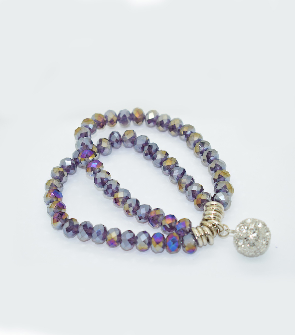 Crystal Two Line Drop Bracelet-Purple