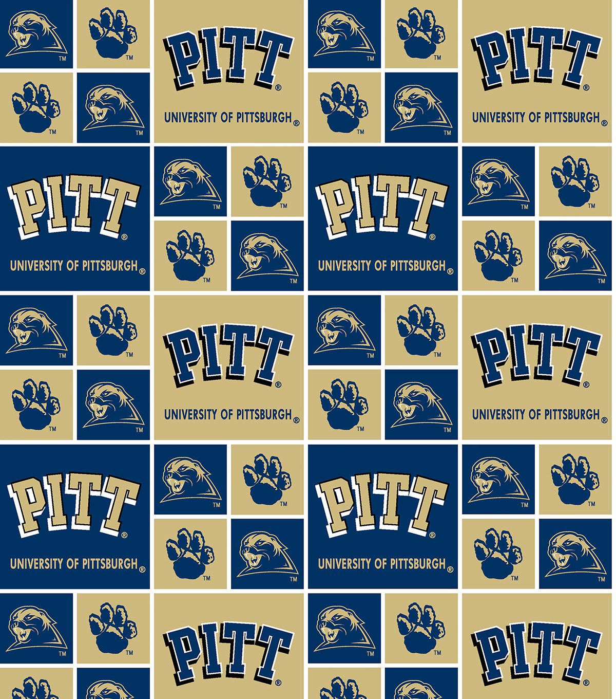 "University of Pittsburgh Panthers Cotton Fabric 43""-Block"