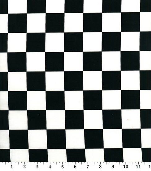 Novelty Cotton Fabric 45\u0022-Black/White Racing Check