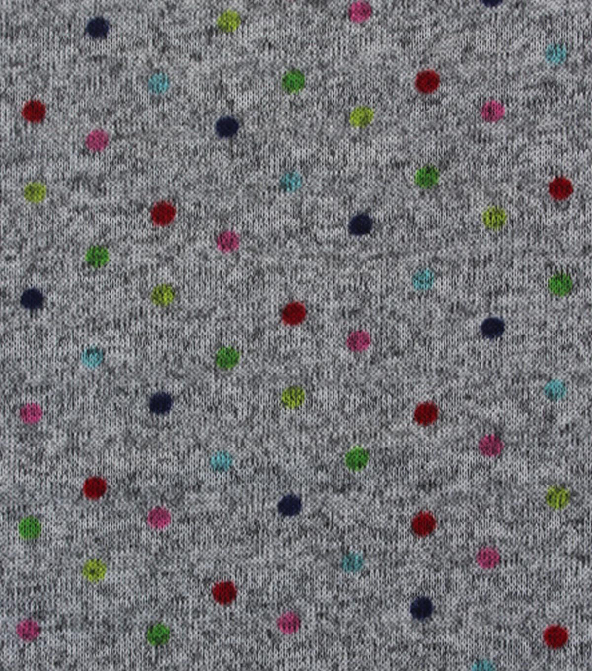"Sweater Fleece Fabric 59""-Multi Small Dot"
