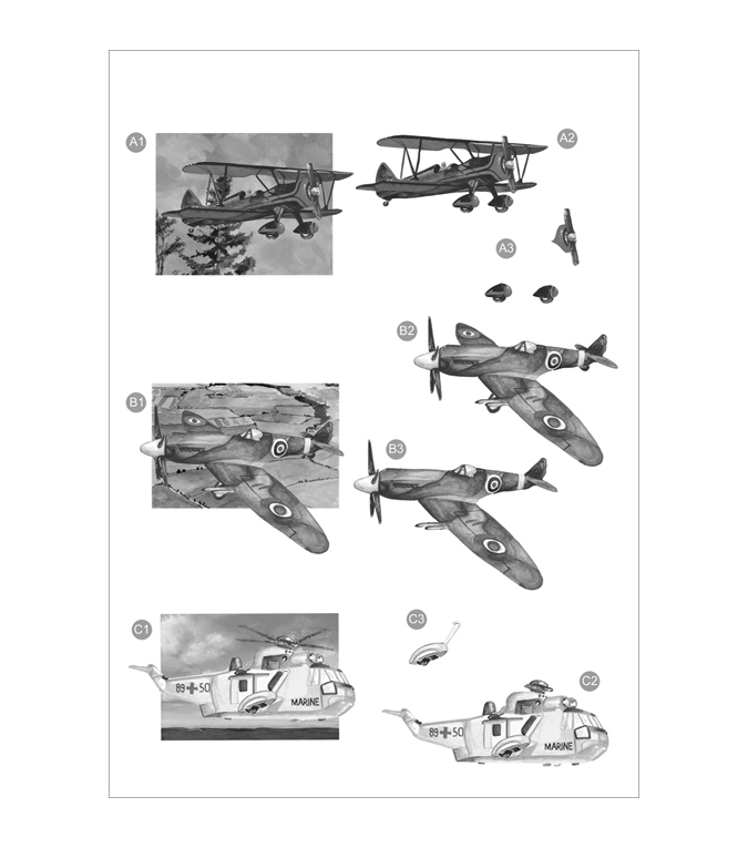 Craft UK 3-D Die-Cut Decoupage Sheet Monochrome Planes