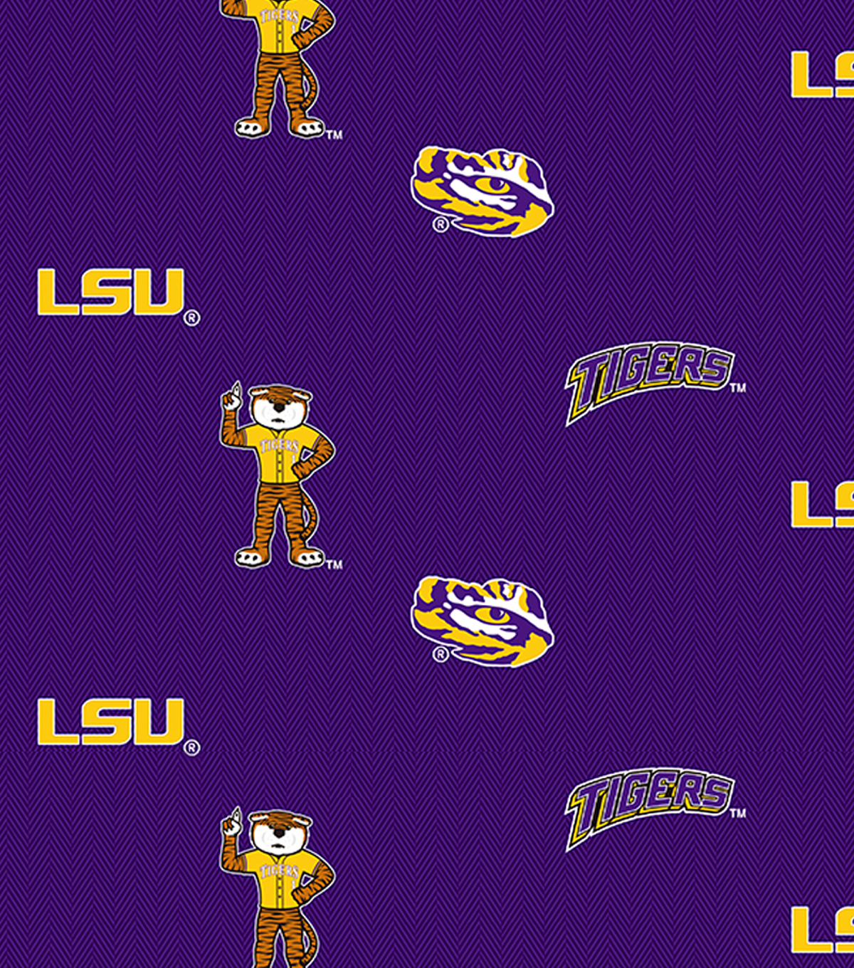 Louisiana State University Tigers Cotton Fabric 43\u0022-Herringbone All Over
