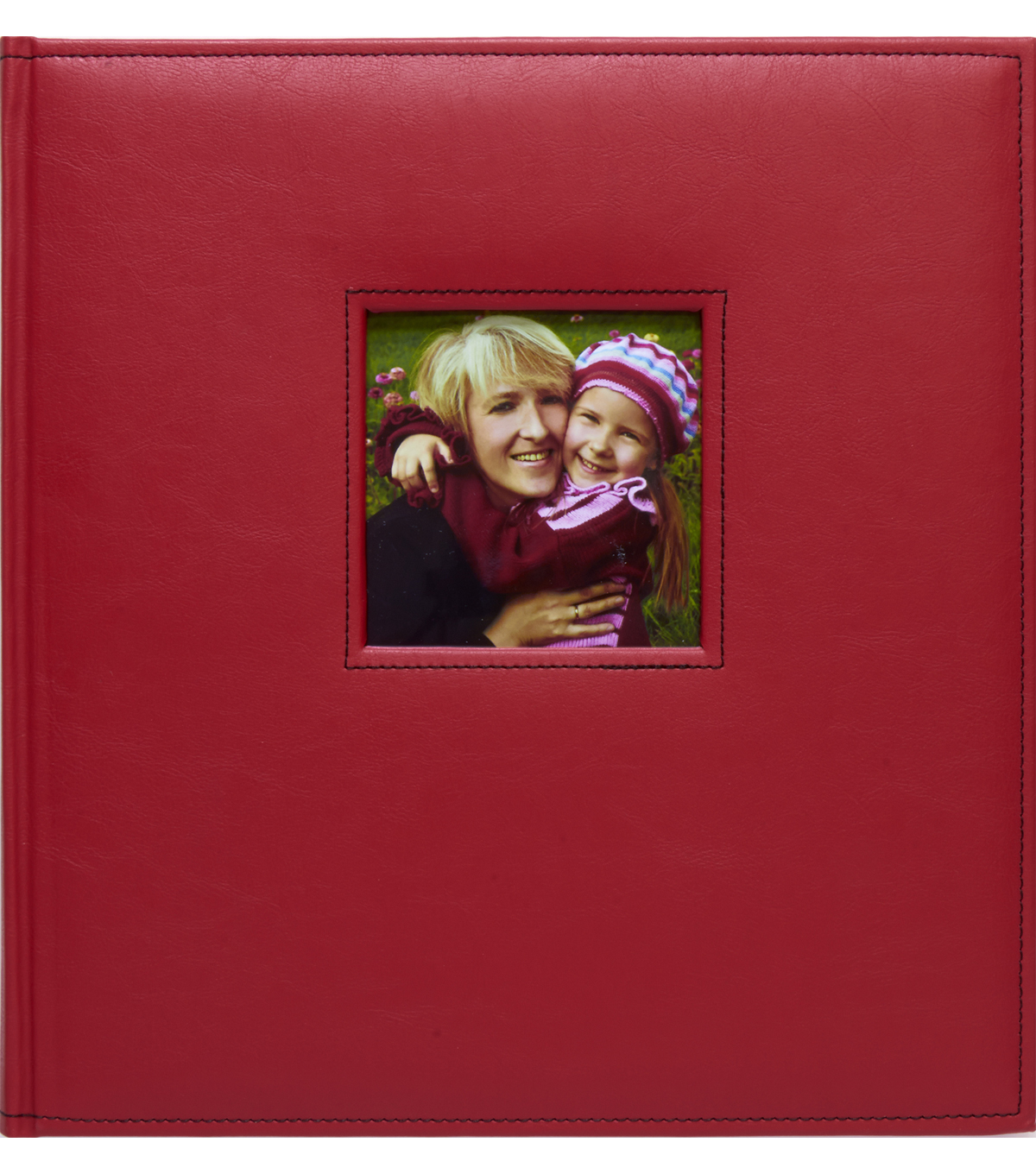 K&Company Red Faux Leather Stitched 5 Up Photo Album