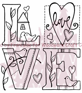 "Woodware Clear Stamps 3.5""X3.5"" Sheet-Love"