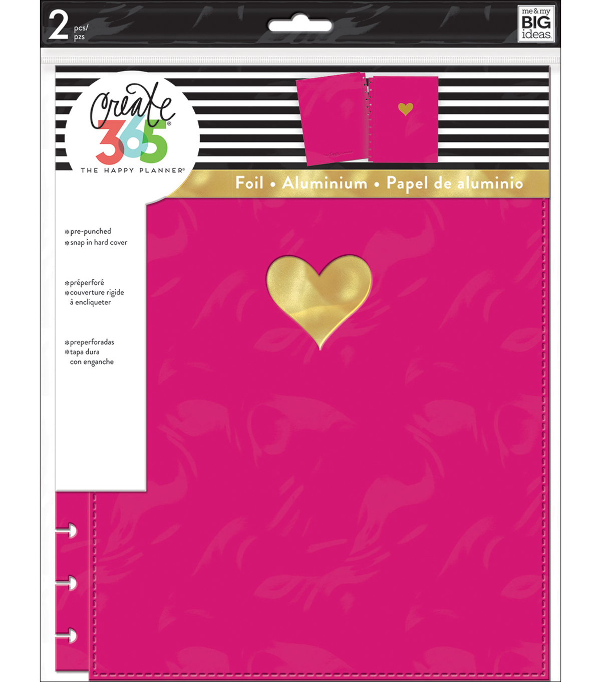 Create 365 Big Snap-In Hard Cover Planner-Gold Heart