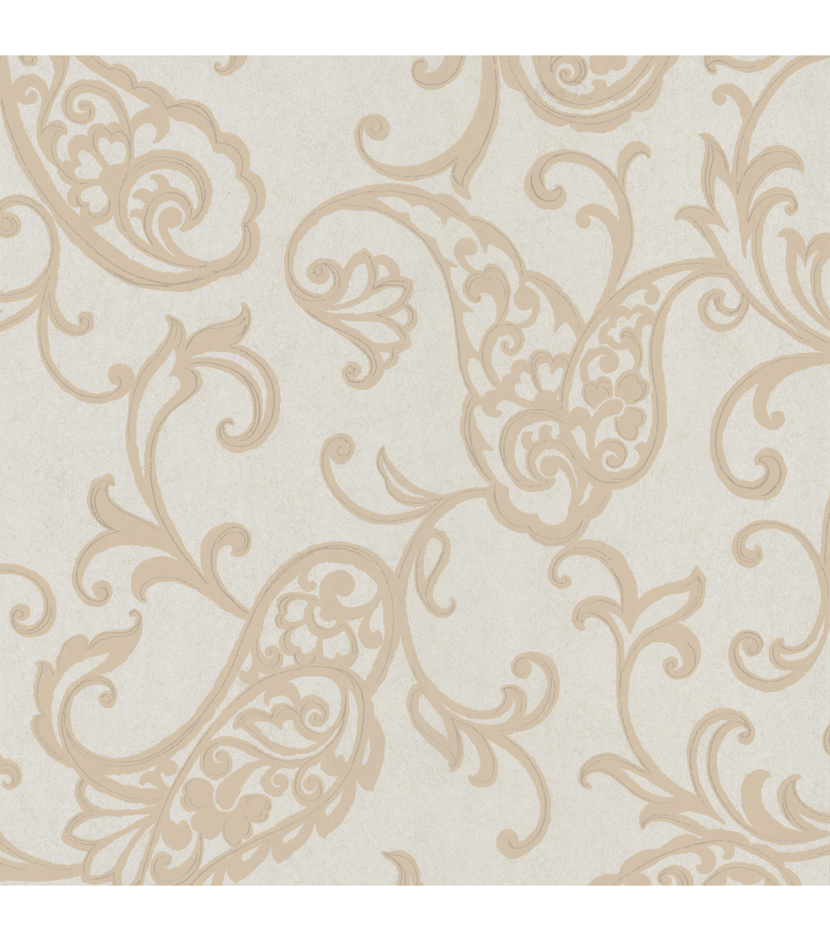 Monireh Platinum Fish Paisley  Wallpaper Sample