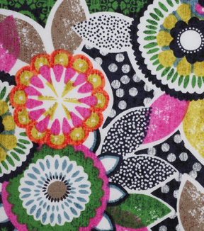 Modern Cotton Fabric 43\u0027\u0027-Floral on Black