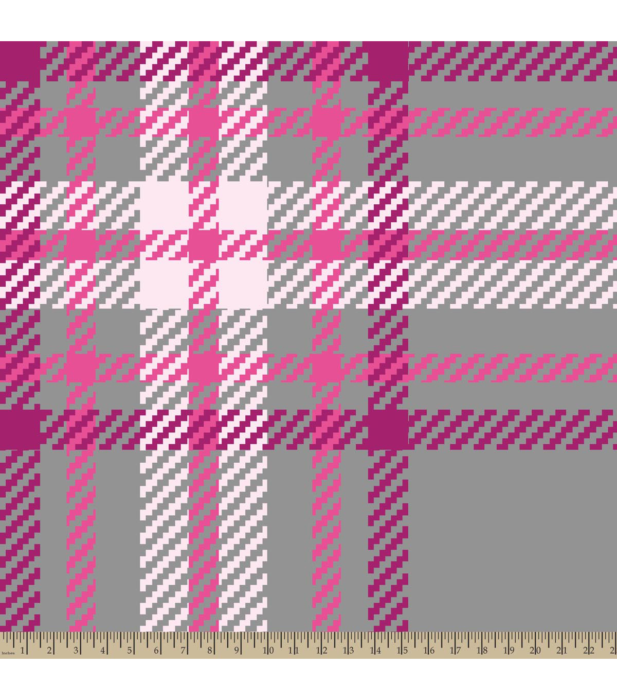 Blizzard Fleece Fabric-Regan Plaid Pink