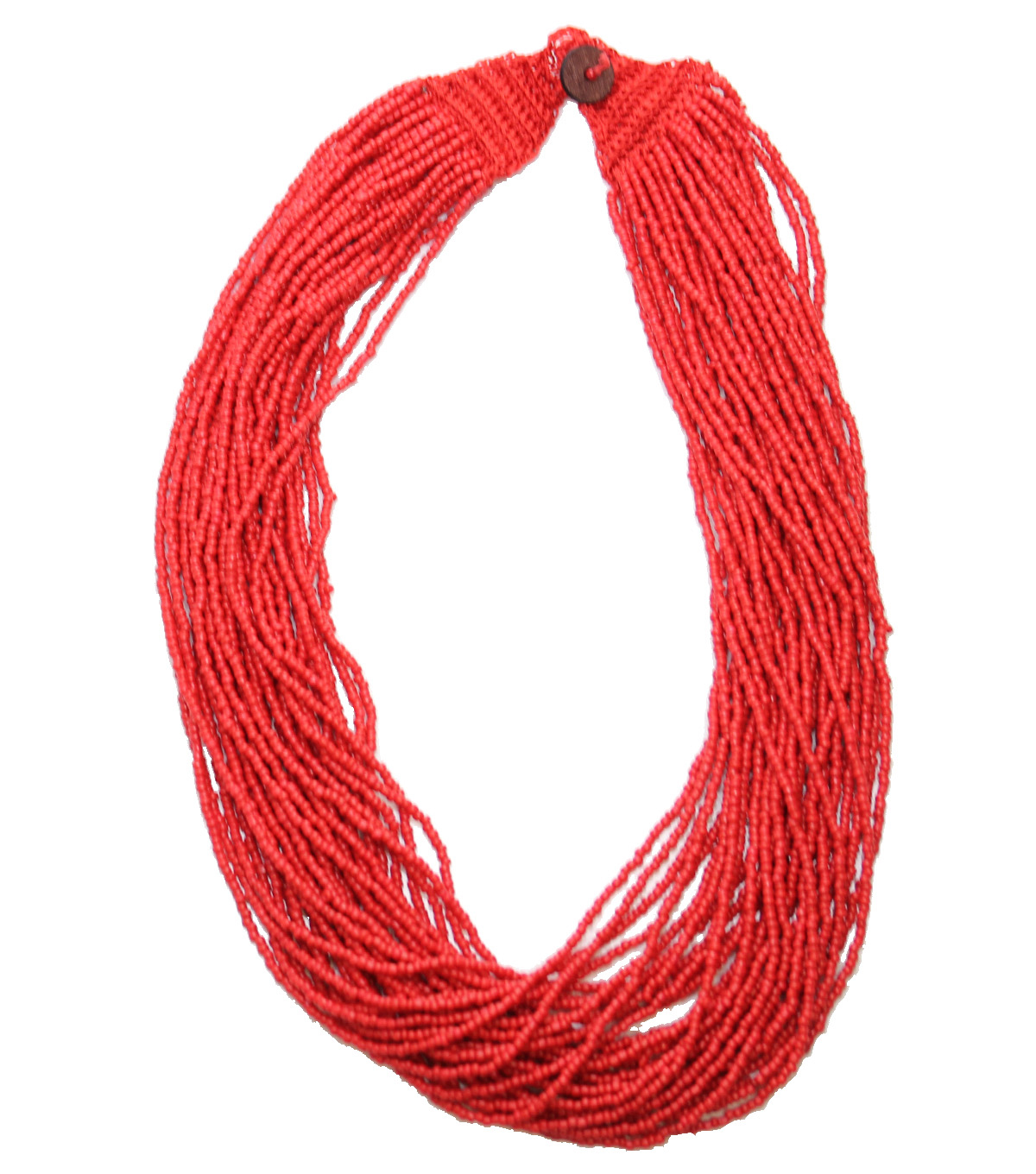Bliss Beads Woven Closure Seed Bead Necklace-Red