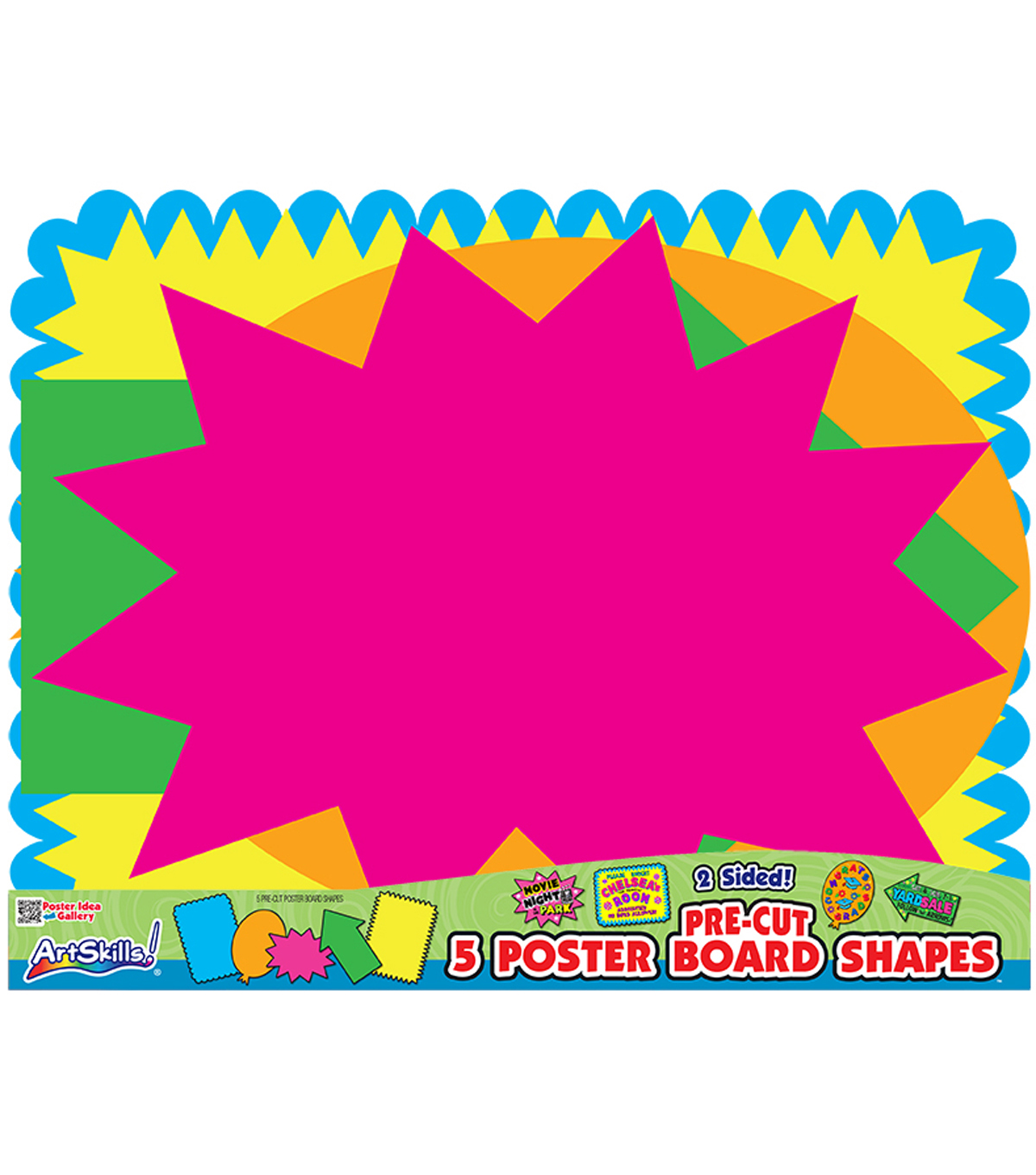 Pre-Cut Posterboard Shapes 22\u0022X28\u0022 5/Pkg-Bright Neon Colors