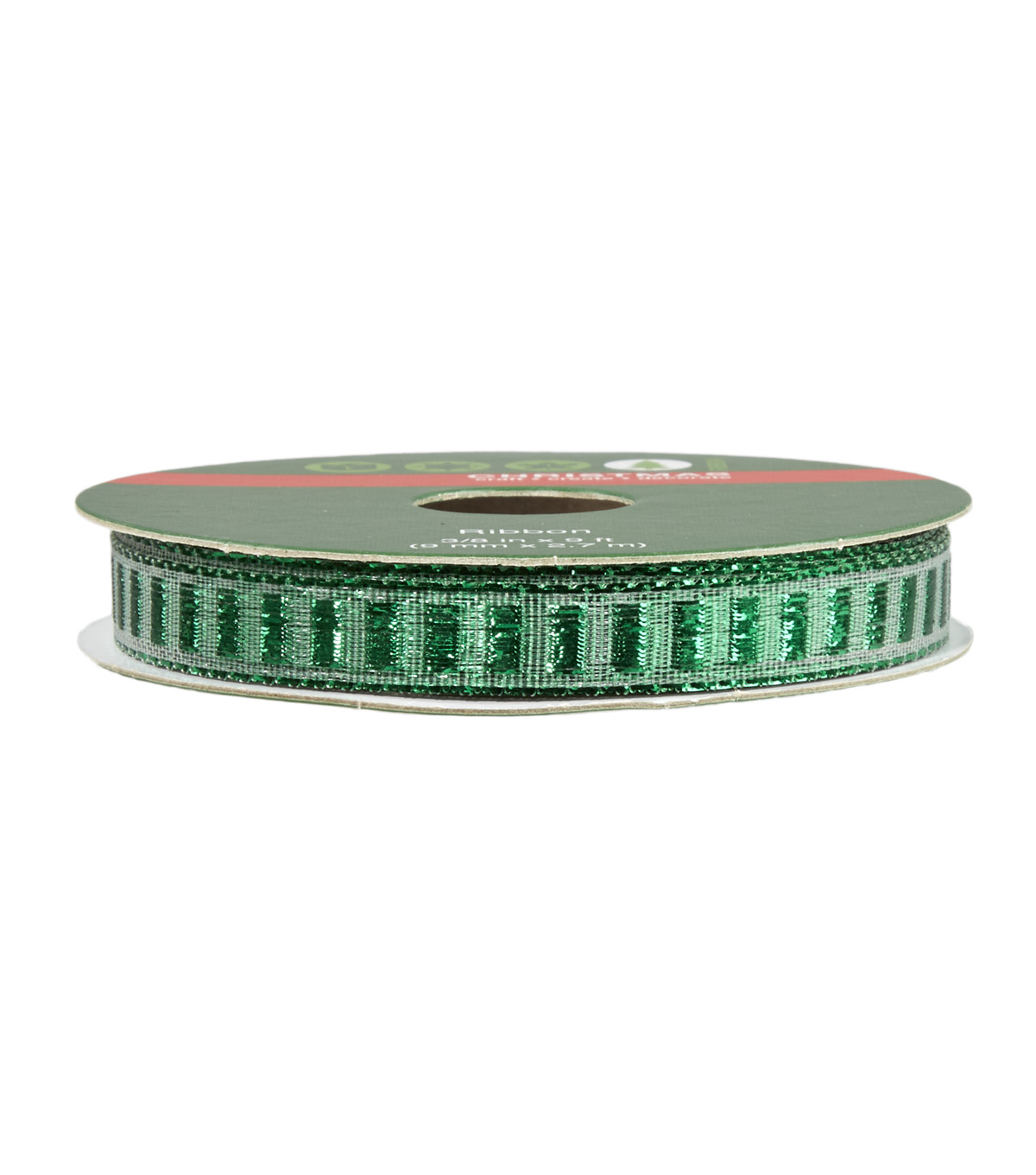 Christmas Ribbon 3/8 in x 9 ft - Green Mylar Sheer