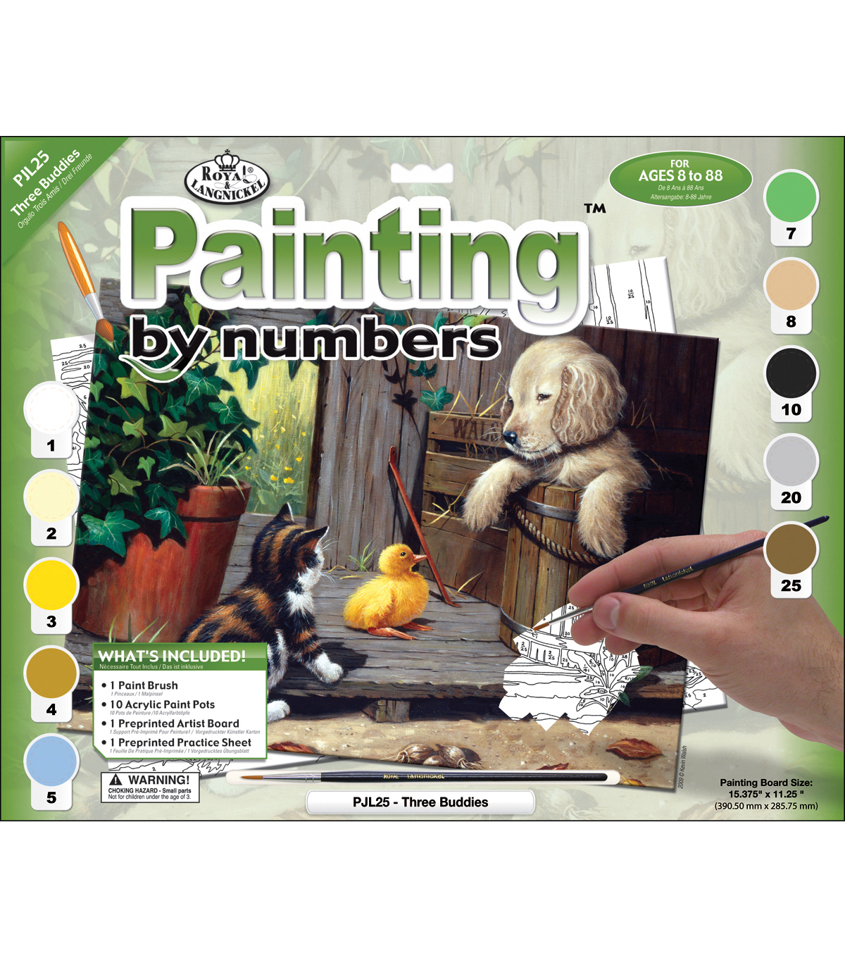 15-1/4\u0022x11-1/4\u0022 Junior Paint By Number Kit-Three Buddies