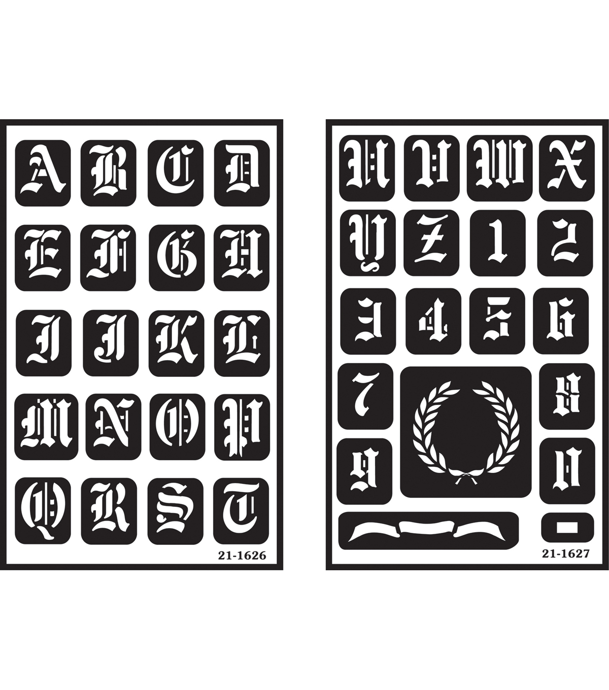 "Over 'n' Over Reusable Glass Etching Stencils 5""X8"" 2/Pkg-Old English Alphabet"