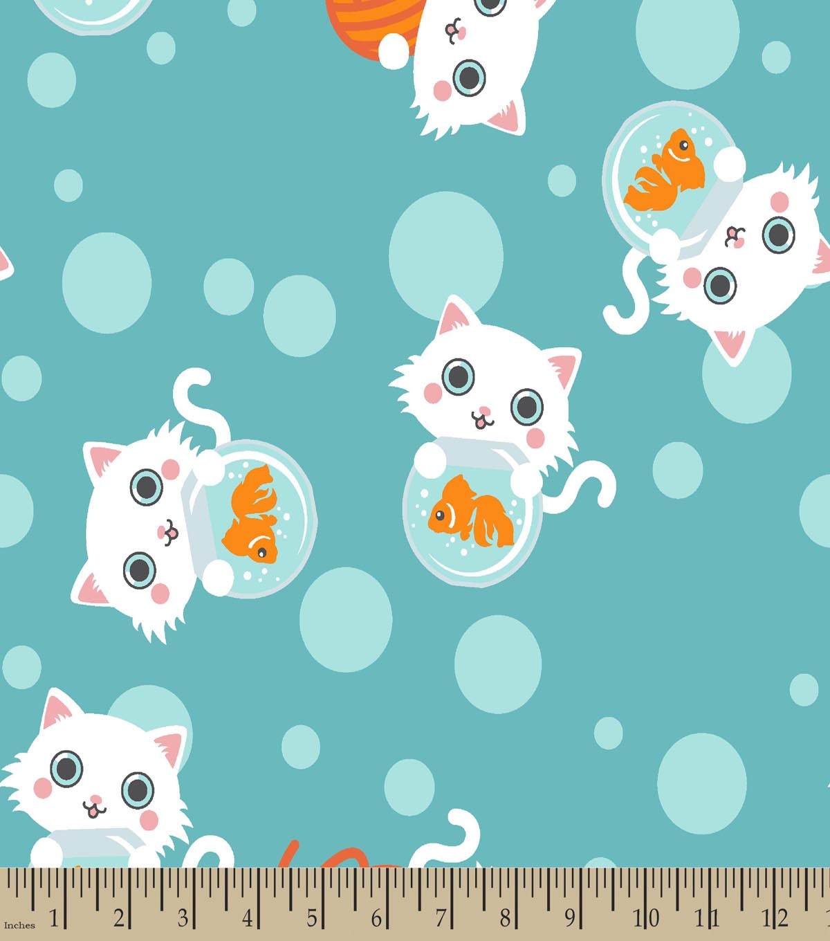 Kitty and Fish Bowl Print Fabric