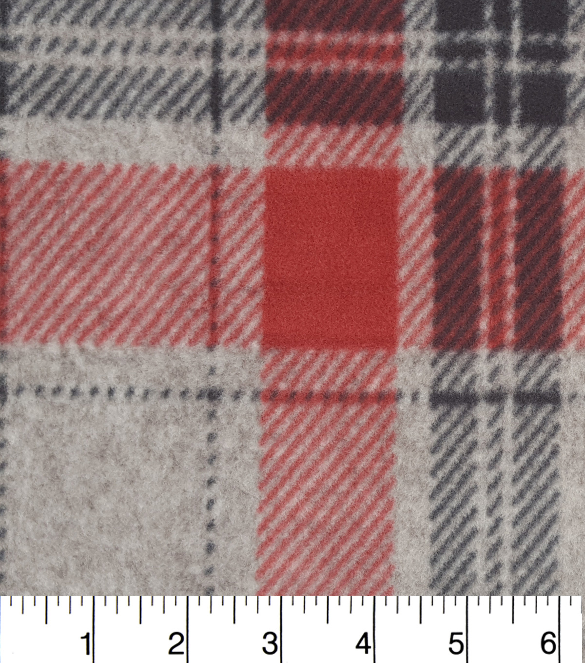 Specialty Fleece Fabric 59''-Red Black Grey Heathered Plaid