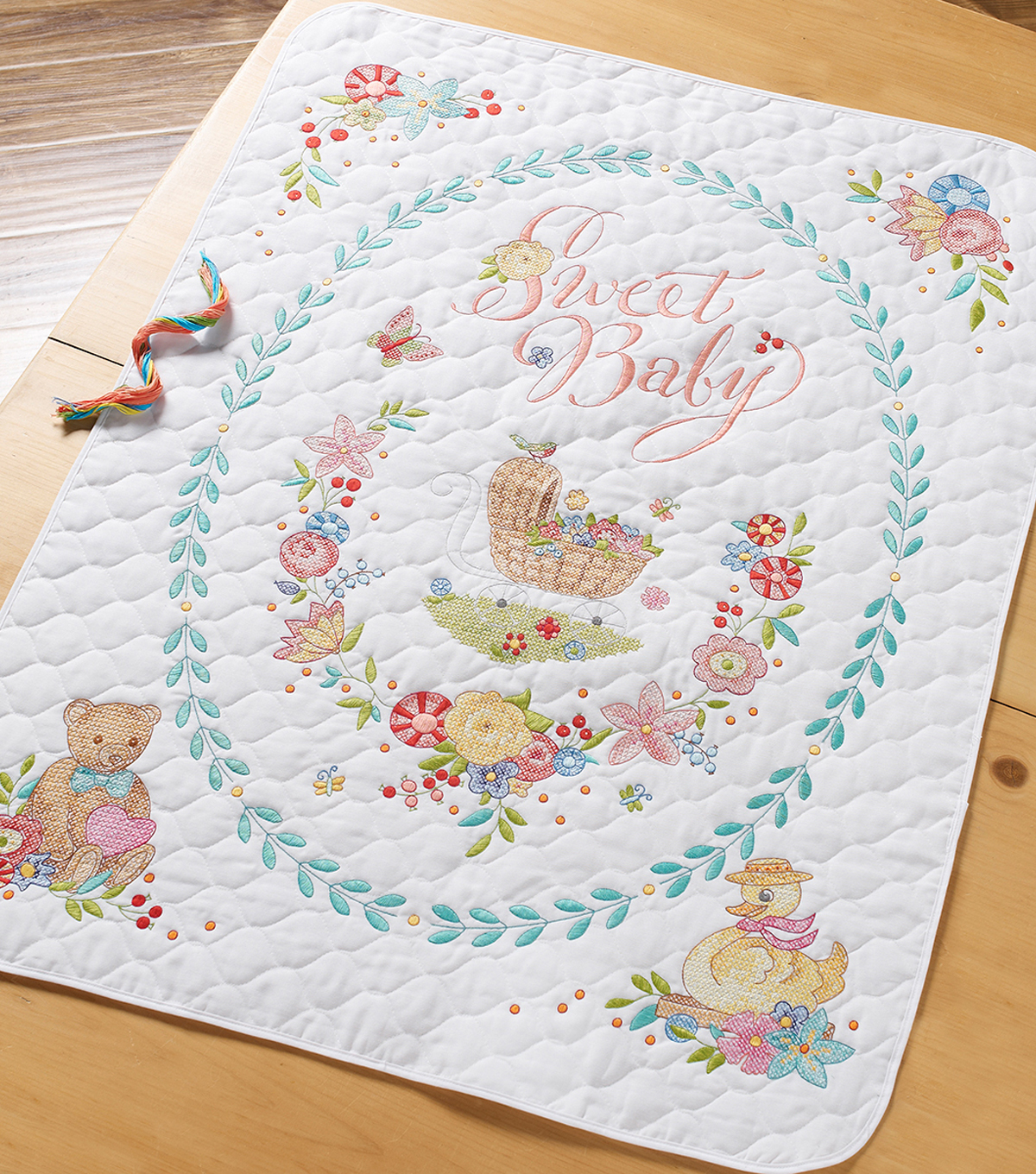 Sweet Baby Crib Cover Stamped Cross Stitch Kit-34\u0022X43\u0022