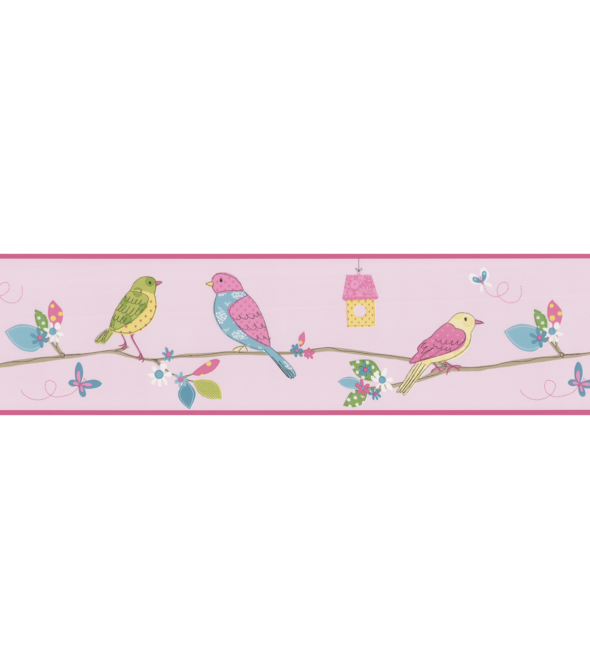 Social Birdie Border Pink Quilted Birds Wallpaper Border