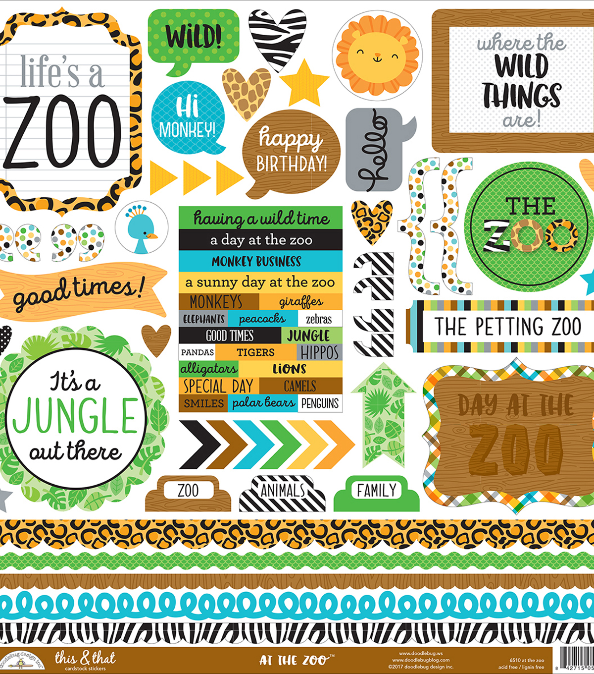 "At The Zoo Cardstock Stickers 12""X12""-This & That"