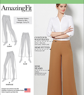 Simplicity Patterns Us1017R5-Simplicity Misses' Amazing Fit Pants-14-16-18-20-22