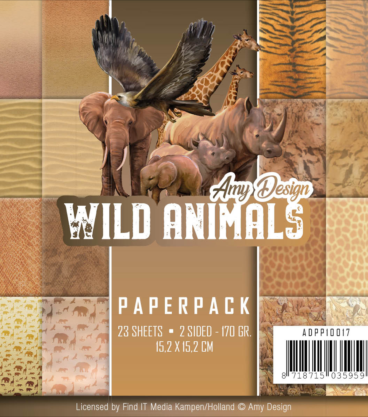 Find It Amy Design Paper Pack 6\u0022X6\u0022-Wild Animals, Double-Sided Designs