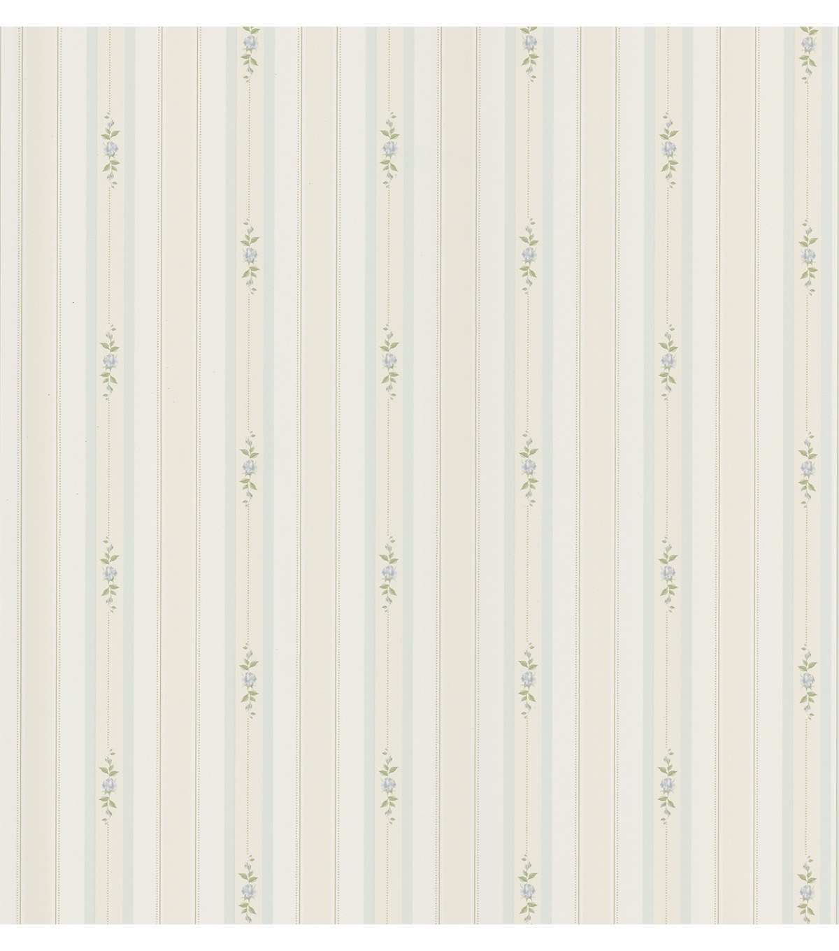 Rosebud Light Blue Floral Stripe Wallpaper Sample