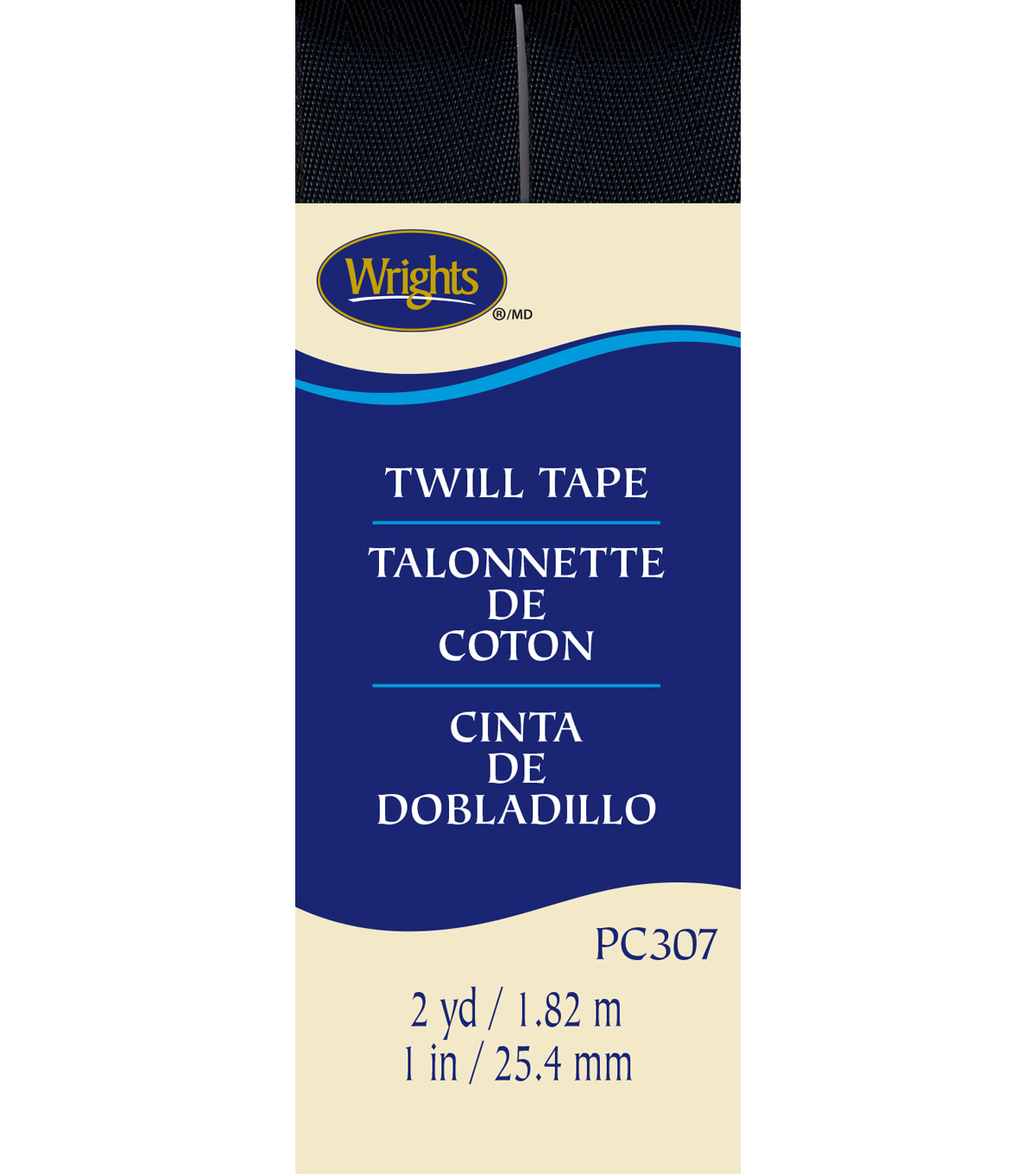 Wrights Twill Tape-1\u0022 x 2yds Black