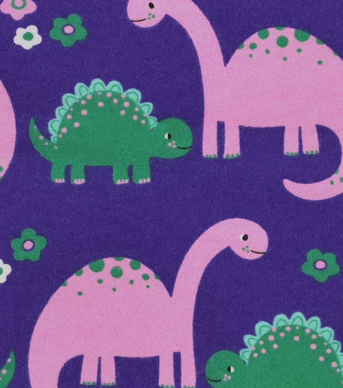 Snuggle Flannel Fabric 42\u0022-Pink & Green Dinos