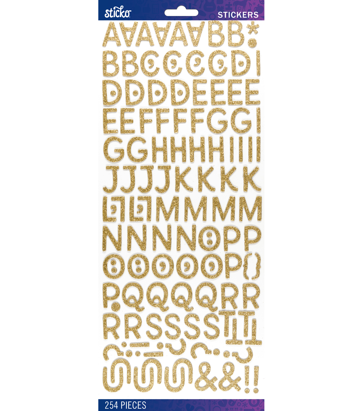 Sticko® 254 Pack Billy Dimensional Glitter Alphabet Stickers-Gold